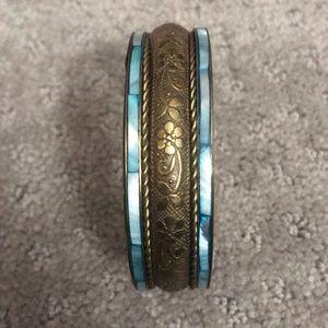 Jewelry - Blue and gold bangle bracelet